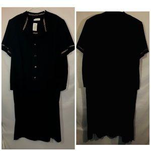 Lady Dorby 2 pc dress and jacket w/leopard trim